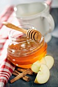 Honey with dipper, apple slices and cinnamon