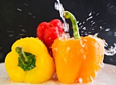 Peppers being washed