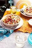 Bruschetta linguine with tomatoes and lemon crumbs