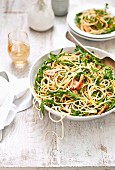 Spaghetti with trout, rocket and lemon