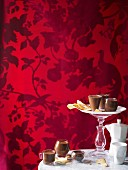 Glasses of pot au chocolat (chocolate mousse)
