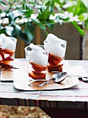 Marinated plums with coconut sorbet