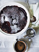 Baked chocolate and almond pudding