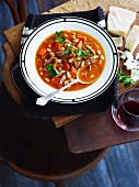Vegetable soup with veal, carrots and white beans