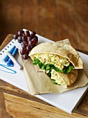 Pita bread filled with egg salad