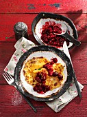 Buttermilk pancakes with cherries
