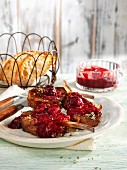 Lamb chops with cherry and ginger sauce