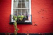 Rote Hausfassade mit Fenster, Blumenkasten & amerikanischer Flagge