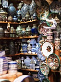 Handmade crockery on shelves (Morocco)
