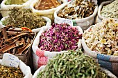 Herbs, spices and dried flowers at a market (Damascus, Syria)