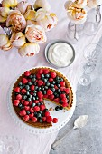 Berry and macadamia nut tart