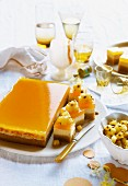 Almond and ricotta cake with passion fruit jelly
