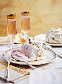 Baked Alaska (baked ice cream with meringue)