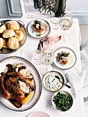 Roast herb chicken and Parker House rolls with herb mayonnaise