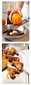 Marinated chicken wings being prepared