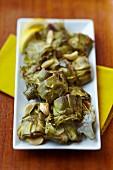 A Platter of Garlic Artichoke Hearts