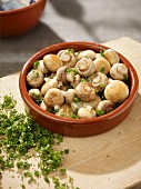 Fried mushrooms with parsley in a tapas dish