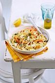 Trofie pasta with prawns, feta and lemon