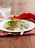 Salmon fillet with a herb crust