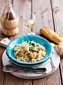 Mussel risotto with parmesan, baguette and wine
