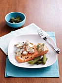 Poached trout with dill potatoes and pickled gherkins