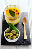Preserved olives and goat's cheese