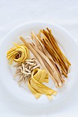Different types of pasta on a plate against a white background
