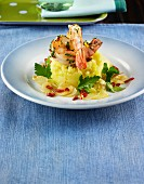 Chilli prawns on a mashed potato