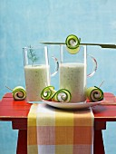 Cold cucumber soup in glasses