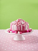 Pink and white layer cake for Easter