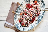 Berry semifreddo with chocolate sauce