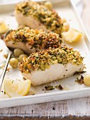Coalfish fillet with a herb crust and grilled gooseberries