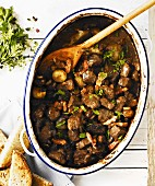Beef Bourguignon in an enamel oven dish