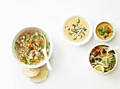 Four different chicken soups from one basic recipe