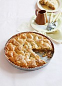 Traditional apple pie with custard