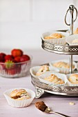 Profiteroles on a tiered cake stand