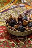 Dried fruits: light and dark figs, physalis and mulberries