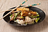 Miso Glazed Tofu with Rice Noodles and Asparagus