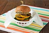 Chickpea Veggie Burger with Heirloom Tomatoes and Pickles