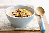Mushroom cream soup with pasta