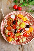 Quinoa salad with radishes and cherry tomatoes