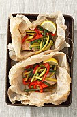 Baked fillet of trout with vegetables