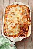 Pasta and meat bake with mozzarella