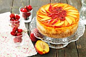 Cheese cake topped with fruit jelly