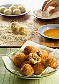 Potato balls filled with minced meat