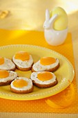 Easter fried eggs - butter biscuits topped with cream and apricot halves