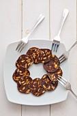 Sliced chocolate 'salami'