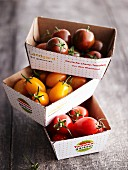Various mini tomatoes in cardboard boxes