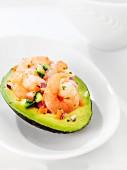 Avocado stuffed with prawns