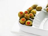 Skewers of stuffed Manzanilla olives